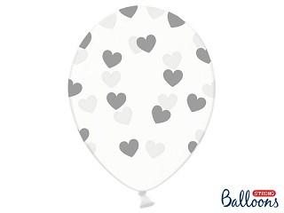 """50 Luftballons """"Silberne Herzen"""" - transparent -"""