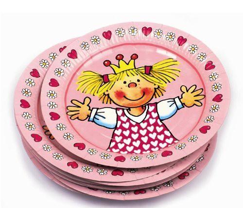 Die kleine Prinzessin Miabella mit goldenem Krönchen und getupftem Prinzessinnenkleid lacht von jedem Pappteller ✔ 8 Einwegteller für die Prinzessinnenparty ✔