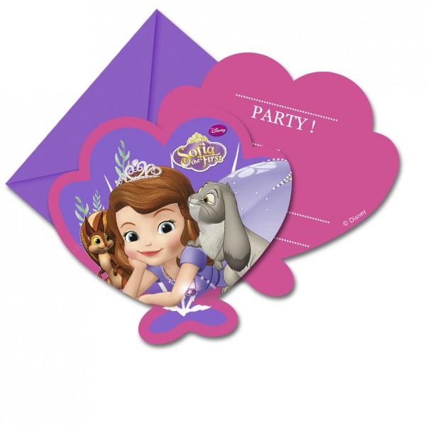 """Einladungskarten """"Sofia die Erste"""" mit Umschlag 6er Pack mit Prinzessin Sofia ✔"""