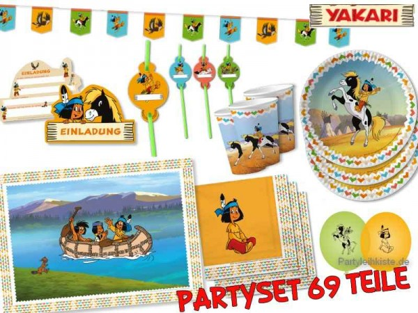 "Kindergeburtstag Set ""Yakari""- 69 Teile - Partyset Kinderparty Indianer"