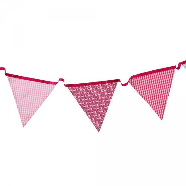 Wimpelkette aus Stoff in pink verschiedene Muster ca. 3m lang