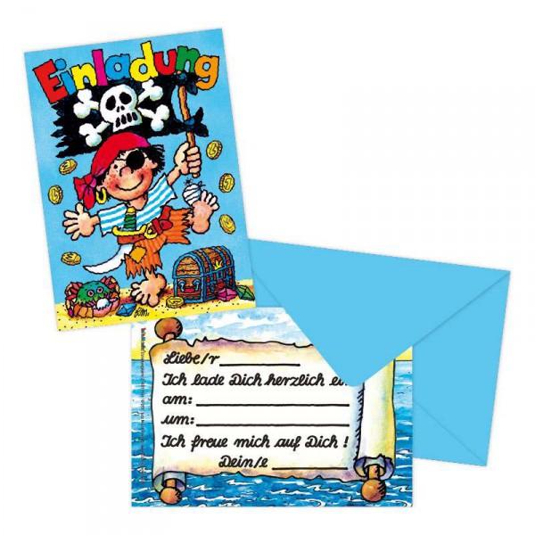 """✔ 8 Einladungskarten Pirat """"Pit Planke"""" > Kindergeburtstag Piraten"""
