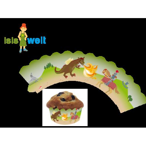 """Deko-Banderolen für Muffins """"Ritter und Drache"""" 12er Pack - Kuchendeko Kindergeburtstag"""