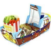 piratenschiff aus pappe als tischdeko für geburtstagstisch