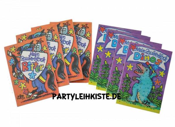 """Zauberblock """"Ritter & Dino"""" 8er Pack Mitgebsel Set"""