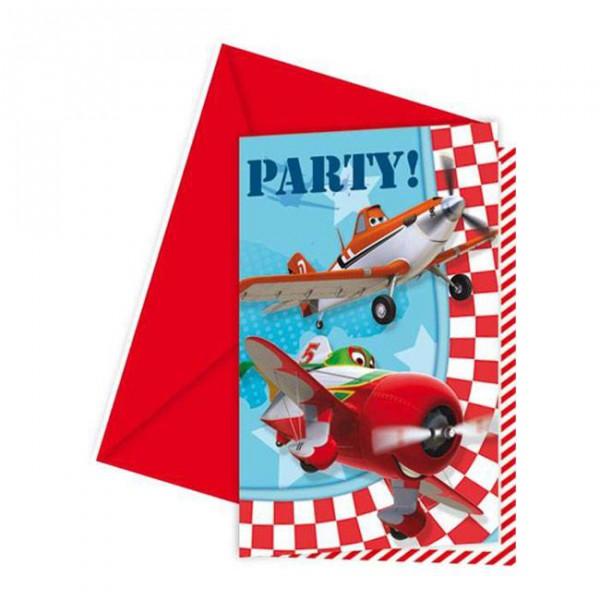 Disney Planes - Einladungskarten mit Umschlägen 6er Pack ✔ mit Dusty und Skipper und Ripslinger.. ✔