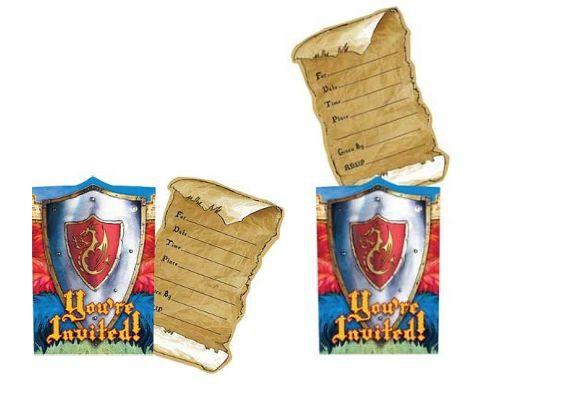 ➤ 8 Ritter Einladungskarten ➤ Einladungen Kindergeburtstag Set