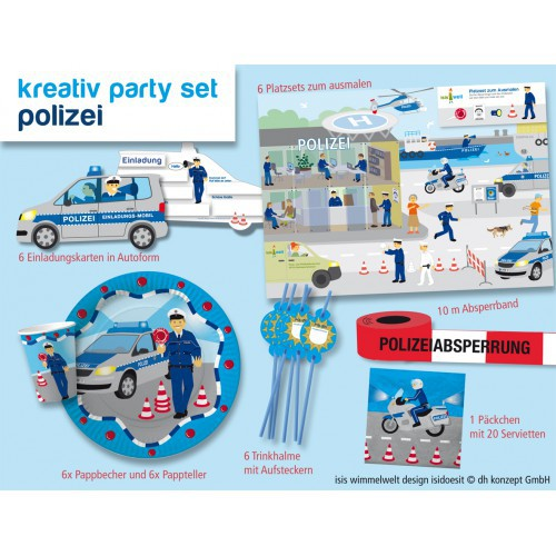 Partyset Polizei für 6 Kinder 51 Teile Kindergeburtstag Polizeiparty Deko Party