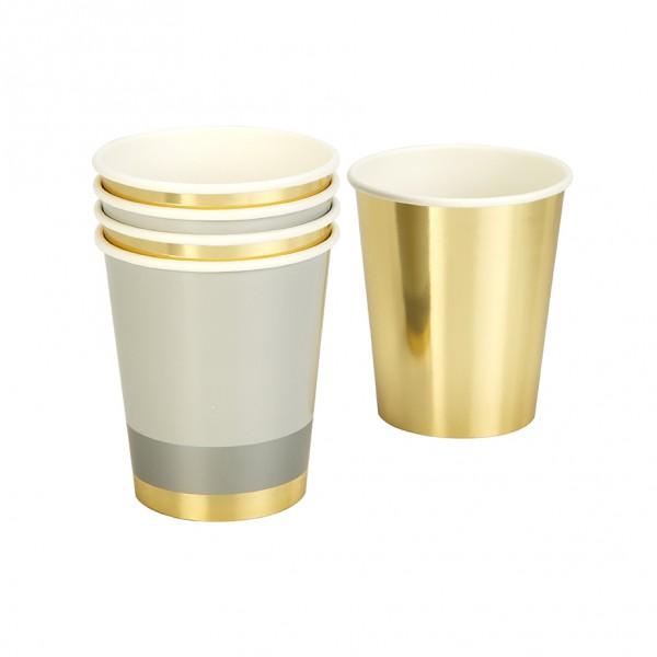 Pappbecher gold/grau, 250ml, 8 Stück