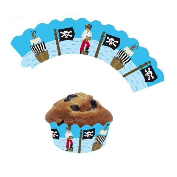 """12 Deko-Banderolen für Muffins und Cupcakes """"Pirat"""" - 3 Größen einstellbar"""