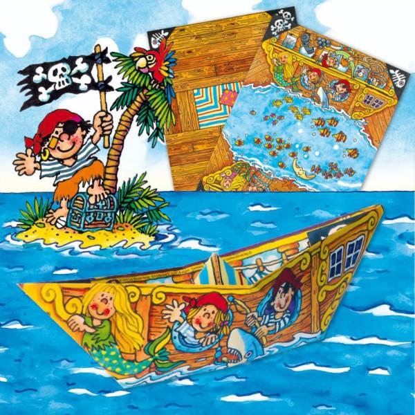 Faltspiel Piratenschiffe Bastelbögen