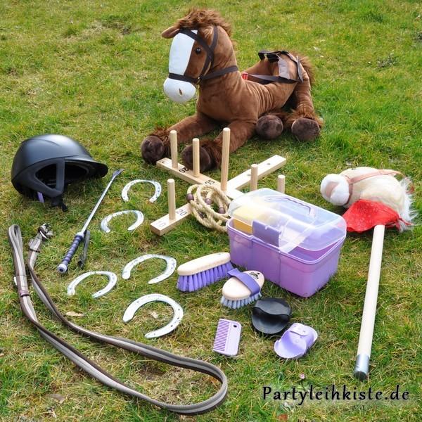kindergeburtstag verleihkiste zubehör pferdeparty