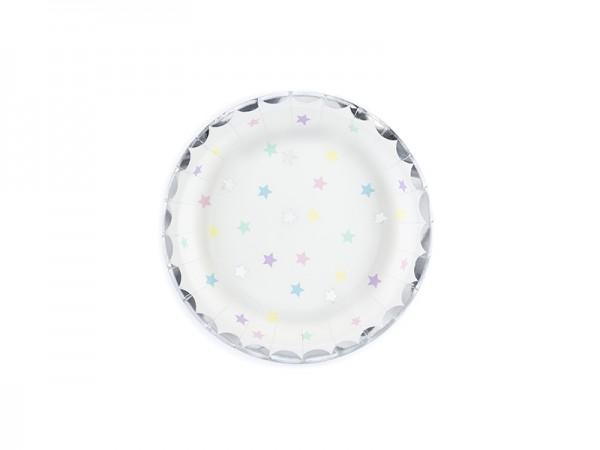 """Kleine Pappteller """"Sterne"""" - pastell - 6 Stück - Einwegteller"""