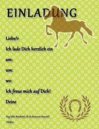 einladungskarten pferdegeburtstag kostenlos ausdrucken, Einladungsentwurf