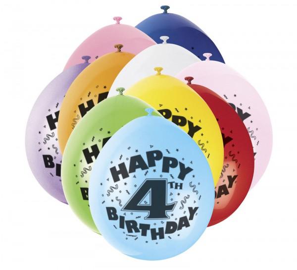 Bunte Luftballons für 4.Geburtstag - Zahlenluftballons
