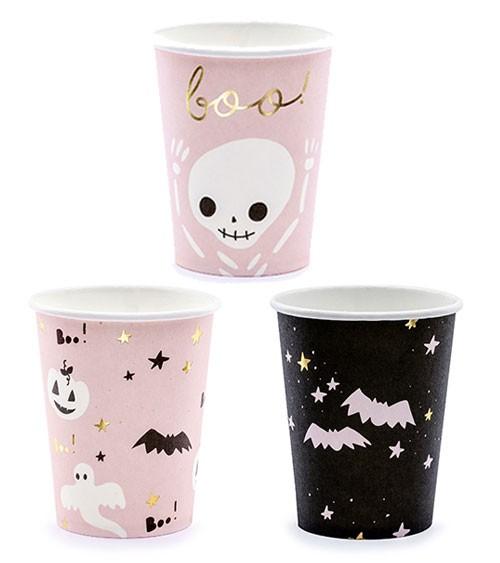 """Pappbecher """"Boo"""" - Designmix - 6 Stück - Halloween"""