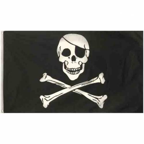 Piratenfahne Jolly Roger in schwarz weiss Totenkopf Skull mit Knochen