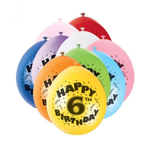 Bunte Luftballons für 6.Geburtstag - Zahlenluftballons