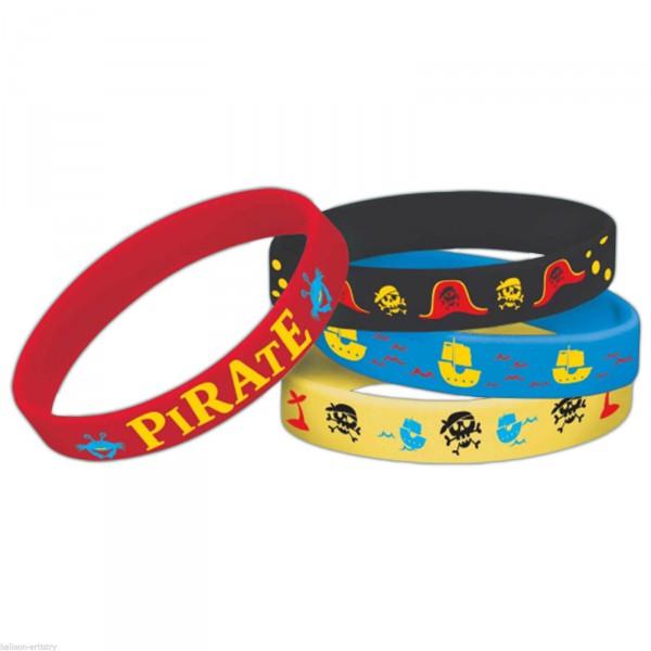 Piraten Silikon Armbänder - 4er Mitgebsel Set zur Piratenparty