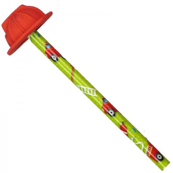 Bleistift mit Radierer Feuerwehrhelm - Feuerwehrparty Mitgebsel