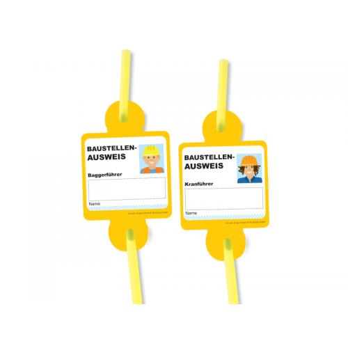 """Trinkhalme mit Namensschild """"Baustelle"""" 8er Pack - Strohhalme  online kaufen"""