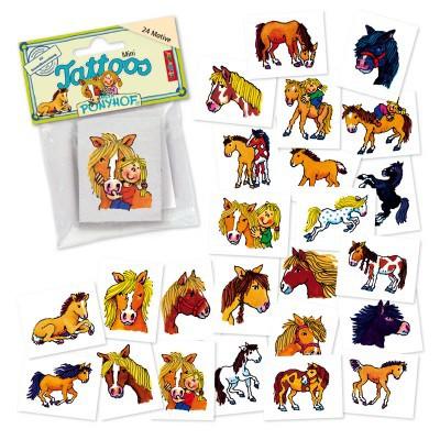 Mini Tattoo Set Pferde Ponyhof 24 Motive - Mitgebsel Pferde Kindergeburtstag