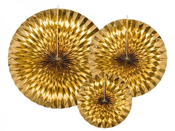 Rosetten-Set - gold metallic - 3-teilig   Hänge Dekoration