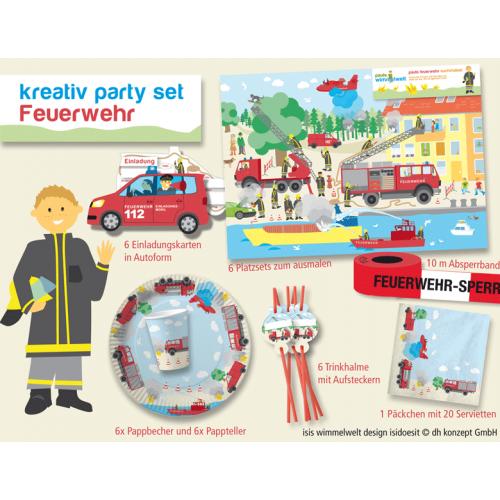 Party-Set Feuerwehr für 6 Kinder zum Geburtstag feiern