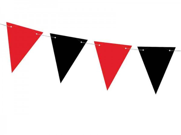 DIY-Wimpelgirlande aus Papier - rot/schwarz - 1,3 m - Piratendekoration