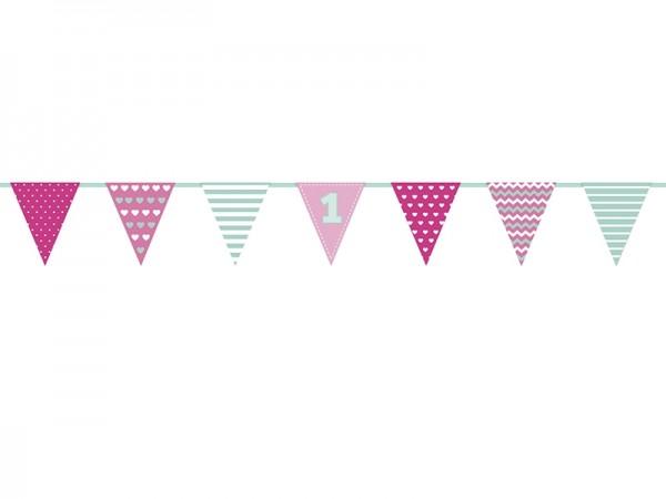 "Wimpelkette ""1. Geburtstag"" - rosa/pink/mint - 1,35 m - 1.Kindergeburtstag"