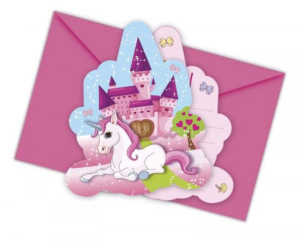 Einladungskarten Einhorn, 6 Stück