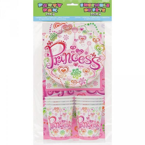 Princess Mottoparty-Set, 25-teilig ✔ zum Kindergeburtstag ✔ Mottoparty Prinzessin Partyset