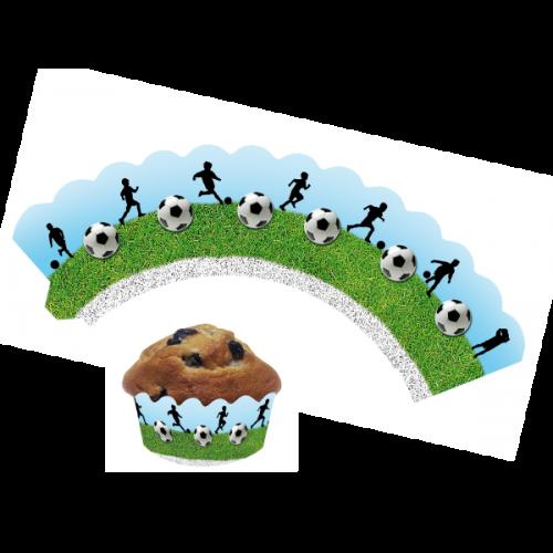 Deko-Banderolen für Muffins und Cupcakes Fußball, 12 Stück