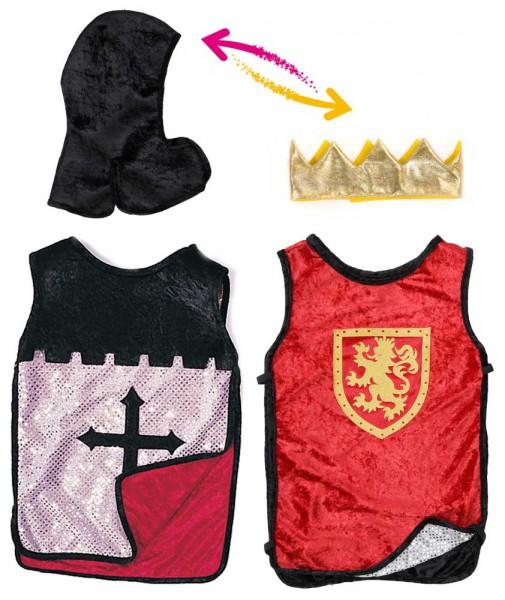 Wendekostüm Ritter/König mit Krone für Kinder 6-8 Jahre