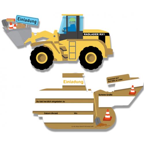 Einladungskarten Baustelle - 6er Pack in Form eines Baggers/Radladers