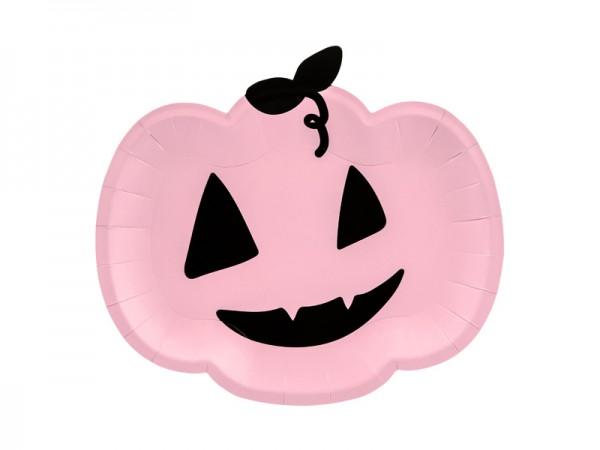 Kürbis-Pappteller - rosa/schwarz - 6 Stück - Halloween