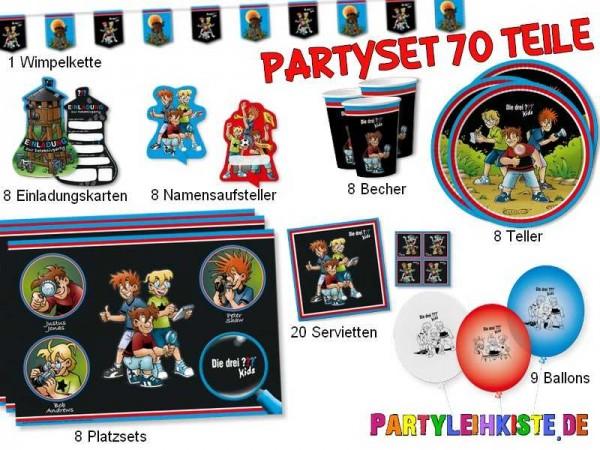 """Party Set """"Die drei Fragezeichen"""" 70 Teile - Kindergeburtstag Party-Set"""