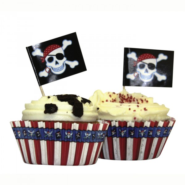 Muffin, Cupcake Papier-Backförmchen & Picks Piraten Party