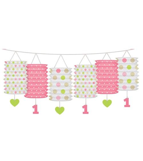 "Laternengirlande ""Erster Geburtstag"" rosa - 3,6 m"
