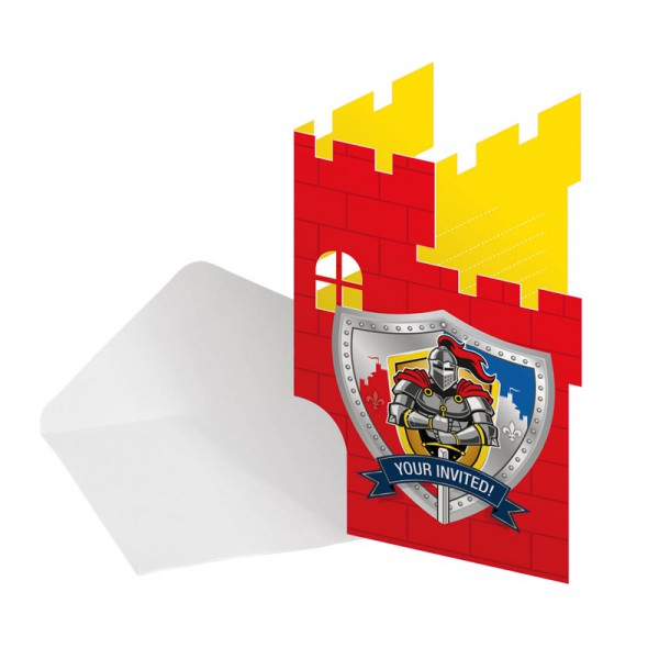 8 Einladungskarten in Form einer Ritterburg mit Ritterschild