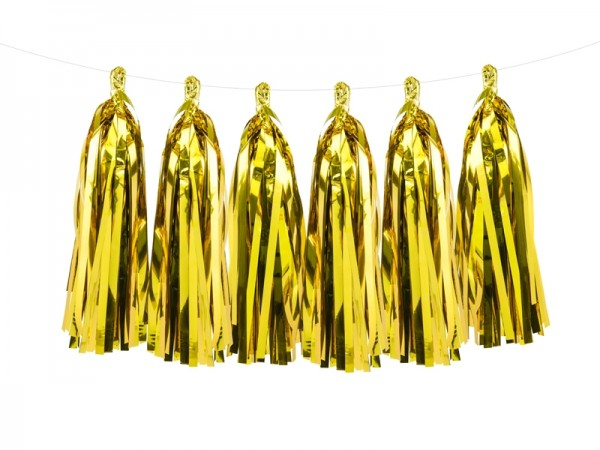 DIY Tassel-Girlande - metallic gold - 1,5 m  - Partydekoration