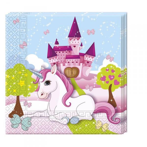 Servietten Einhorn, 20 Stück -Unicorn Kindergeburtstag Party Servietten
