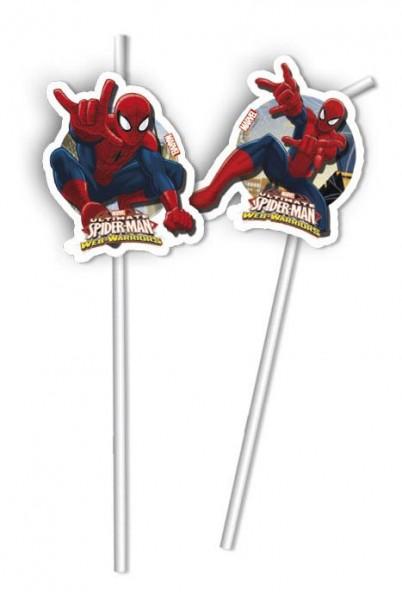 "➤ Strohhalme ""Ultimate Spiderman"" 6er Pack, Web Warriors ✔ Trinkalme"