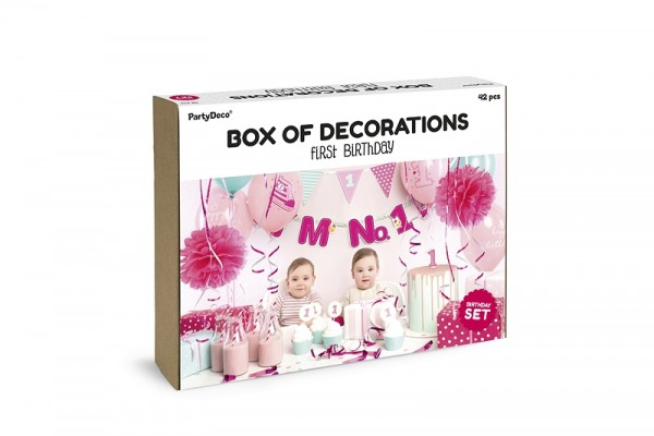 "Party-Deko-Set ""I'm No.1 - pink"" - 12-teilig - 1.Kindergeburtstag"