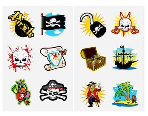 Piraten Tattoos als MItgebsel für Kindergeburtstag