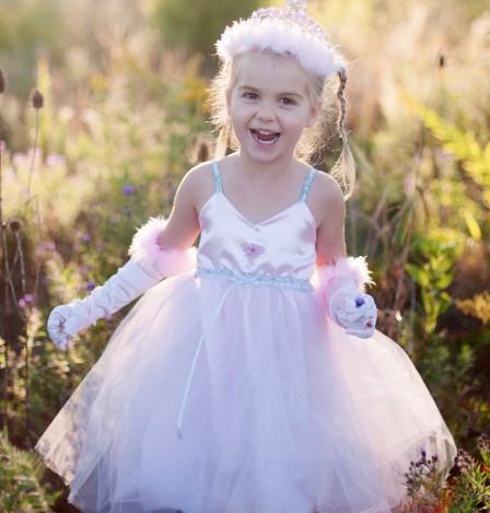 Prinzessinkleid für Kinder in rosa-silber