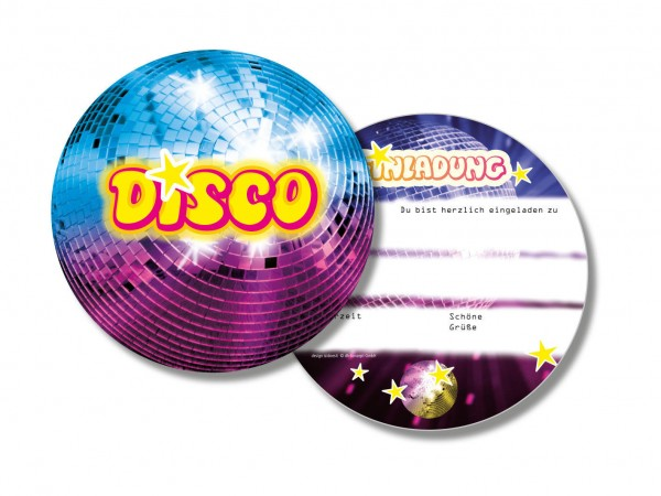 """6 Einladungskarten """"Disco"""" für Geburtstag oder Party online kaufen"""