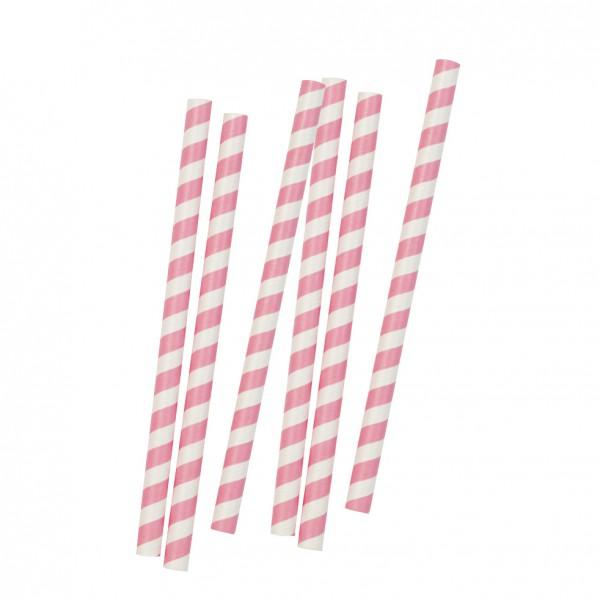 10 Jumbo Strohhalme rosa,weiss gestreift