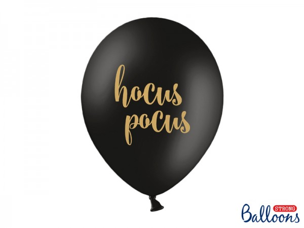 "Luftballons ""Hocus Pocus"" - schwarz/gold - 30 cm - 50 Stück"
