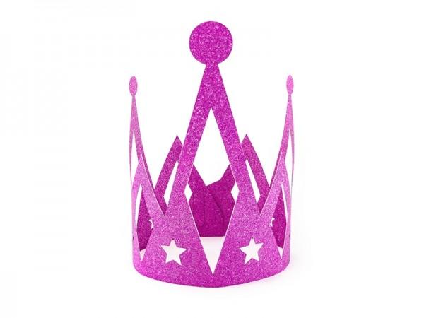 Prinzessinnen-Krone aus Pappe - glitter pink  - Prinzessin Kopfschmuck